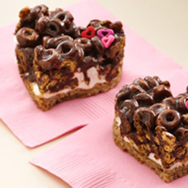 Chocolate Cheerios Heart-shaped Marshmallow Bars