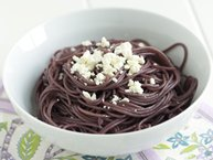 Red Wine Pasta with Feta Cheese