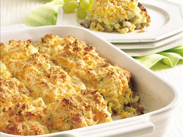 Sausage 'n Apple Cheddar Biscuit Bake