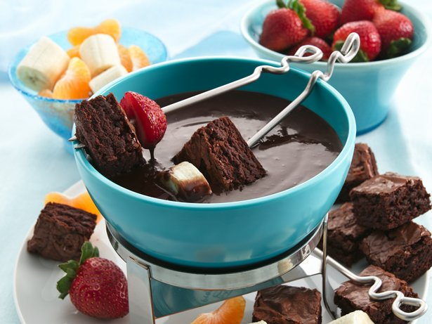 Brownies and Chocolate-Raspberry Fondue