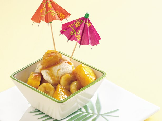 Rum-Caramel Tropical Sundaes