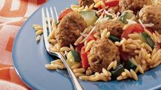 Meatballs with Orzo and Italian Vegetables Recipe