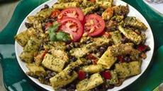 Black Bean-Chicken Salad with Creamy Cilantro Pesto Dressing Recipe