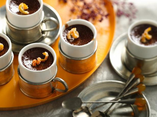 Chocolate Yogurt Pots de Creme with Candied Orange Peel