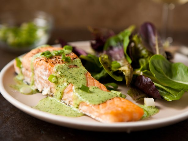 Baked Salmon with Wasabi Sauce
