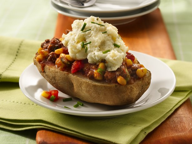 Ground Beef- and Corn-Topped Potato Skins