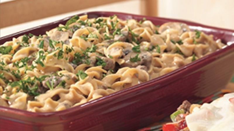 Hamburger Stroganoff Casserole recipe from Betty Crocker