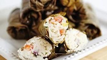 Grape Leaves Stuffed with Creamy Mediterranean Pasta