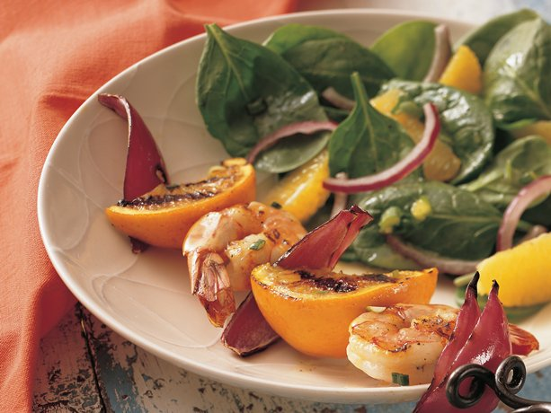 Grilled Shrimp Kabobs with Orange Spinach Salad
