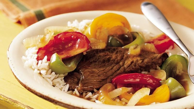 Slow-Cooker Pepper Steak recipe from Betty Crocker