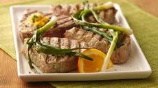 Grilled Tuna Steaks with Green Onions and Orange Butter  Recipe