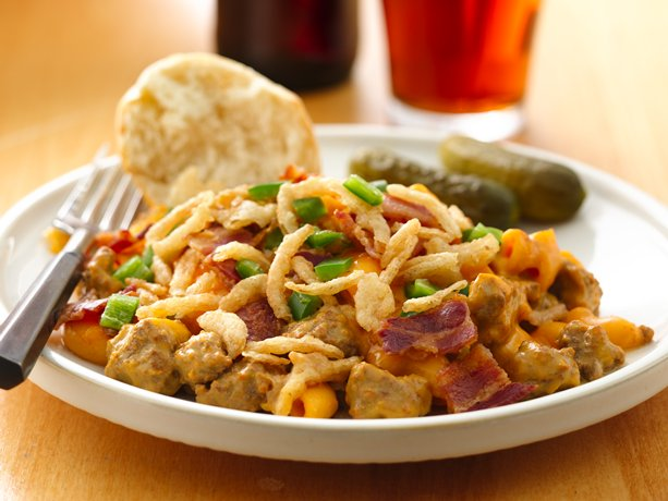 Beer and Bacon Burger Skillet