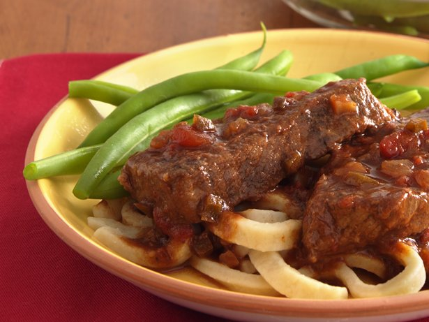 Slow Cooker Salsa Swiss Steak with Noodles