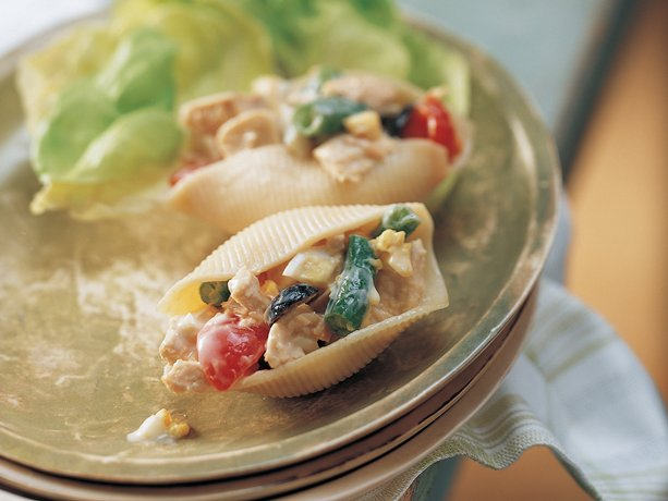 Caesar Tuna Salad in Pasta Shells