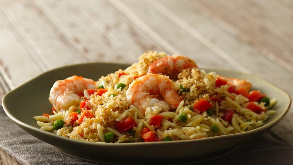 Lemon 'n Herb-Crusted Orzo and Shrimp