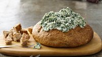 Healthified Spinach Dip in a Bread Bowl