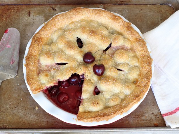 ... bake a stunning double-crusted cherry pie using fresh cherries for a