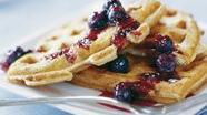 Healthified Hearty Waffles with Blueberry Sauce