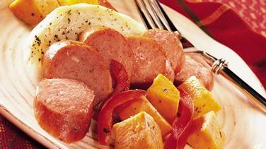 Turkey Kielbasa with Cabbage and Sweet Potatoes