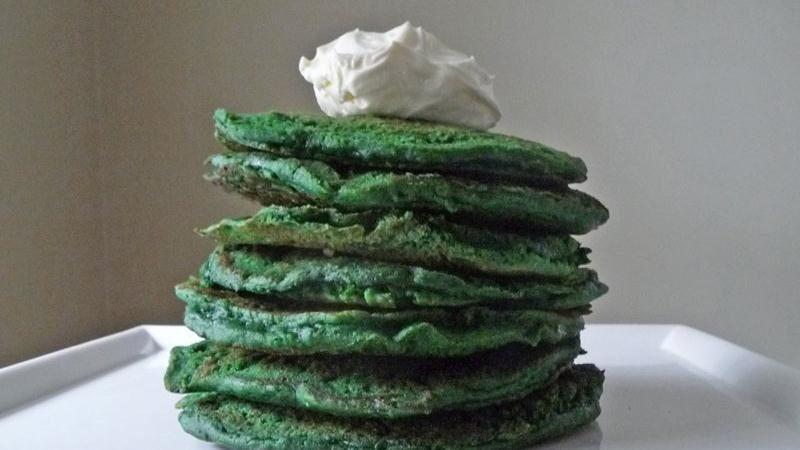Green Velvet St. Paddy's Pancakes