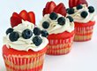 Flag Cupcakes with Vanilla Buttercream