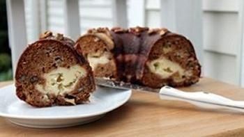 Apple Praline Bundt Cake with Cream Cheese Filling