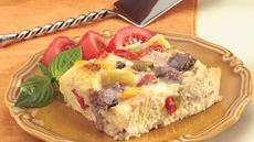 Make-Ahead Philly Beef Strata Recipe