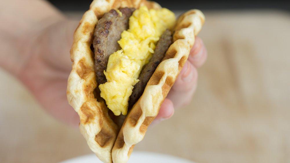 Sausage and Egg Waffle Tacos