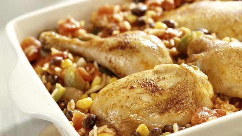 Healthified Chicken, Rice, and Beans Bake