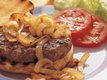 Grilled Hamburger Steaks with Roasted Onions