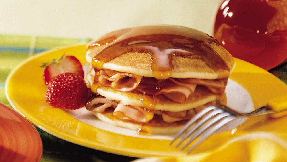 Country Ham Pancakes with Butter Maple Syrup