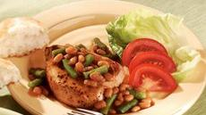 Pork Chops with Beans and Biscuits Dinner Recipe