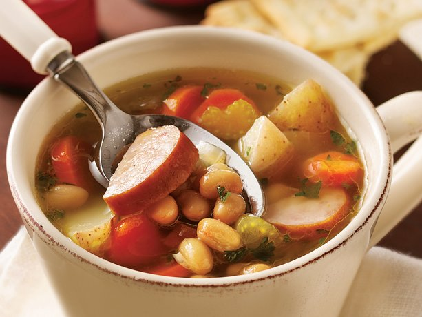 Stock the slow cooker with this smoky sausage and bean soup, rounded ...