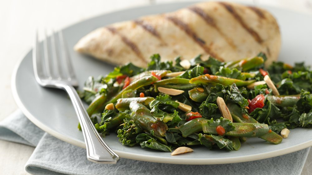 Harissa Green Beans and Kale