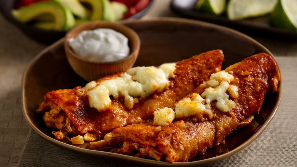 Chile and Roasted Garlic Chicken Enchiladas