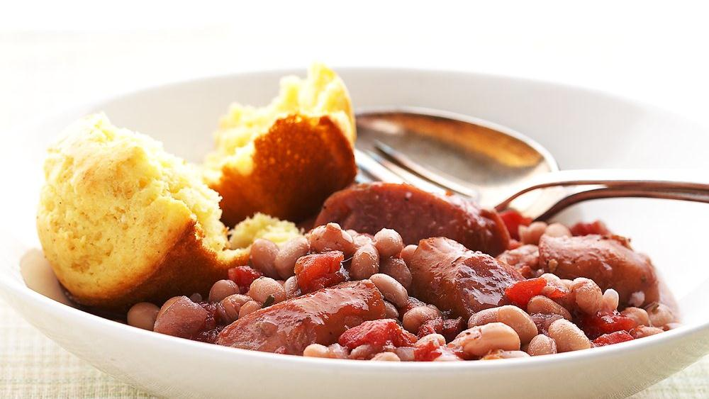 Slow-Cooked Cannellini Beans And Sausages Recipe — Dishmaps