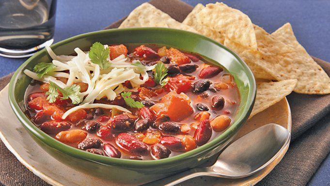 Slow-Cooker Three-Bean Vegetarian Chili