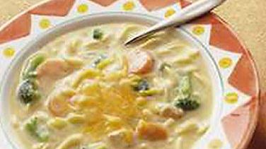 Cheesy Chicken Noodle and Broccoli Soup