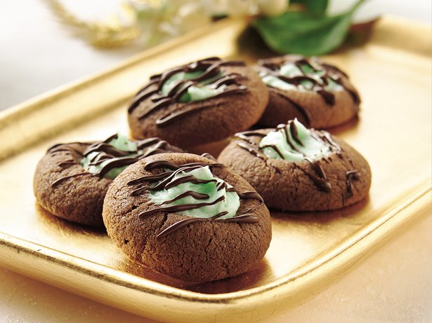 Mint-Filled Chocolate Thumbprints
