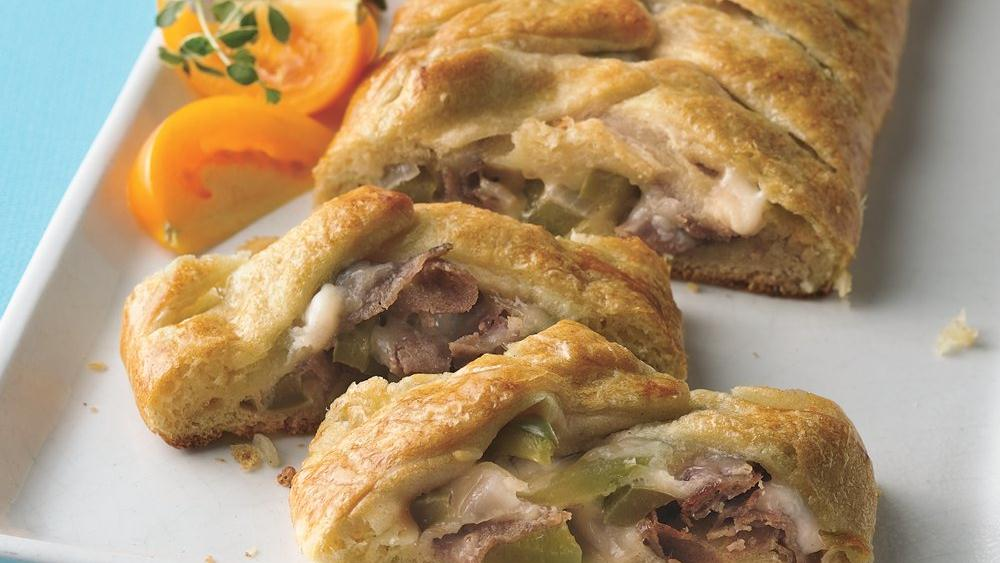 Cheese Steak Crescent Braids