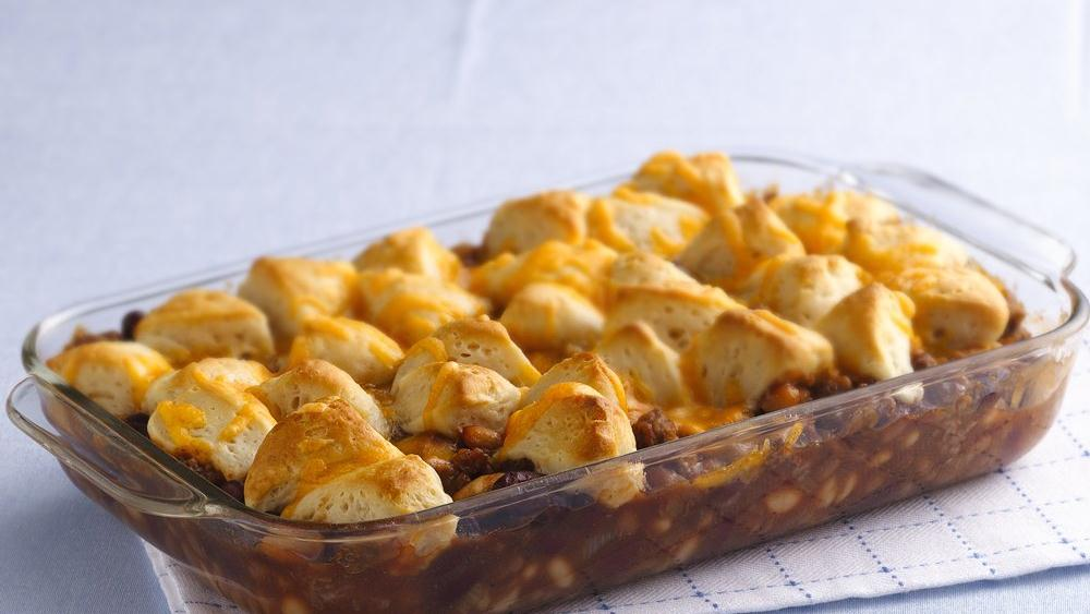 Cheesy Biscuit Bean and Beef Casserole recipe from ...