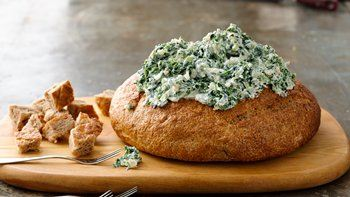 Skinny Spinach Dip in a Bread Bowl