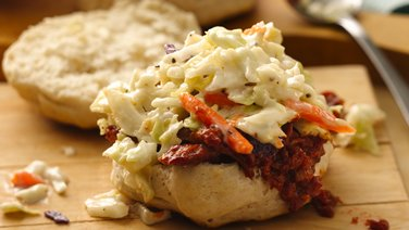 Grilled Biscuit BBQ Pork with Coleslaw
