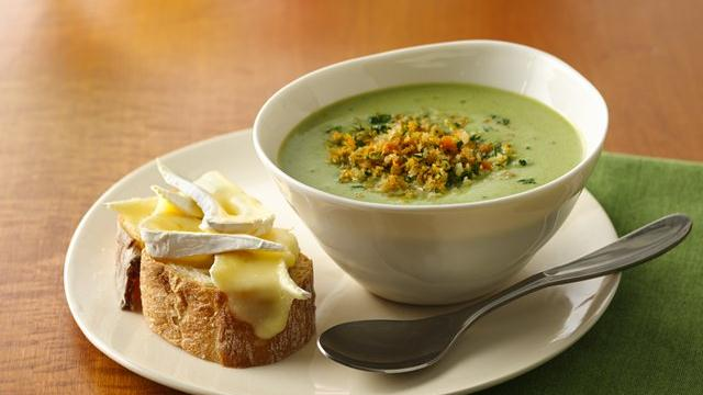 Image of Asparagus Soup With Brie Bruschetta, Pillsbury