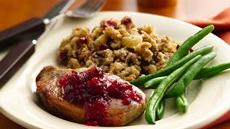 Slow Cooker Pork Chops with Cranberry-Cornbread Stuffing Recipe