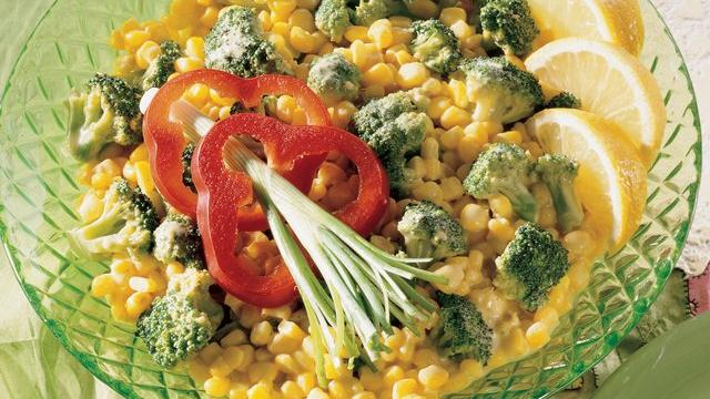 Broccoli and Corn in Gingered Curry Cream