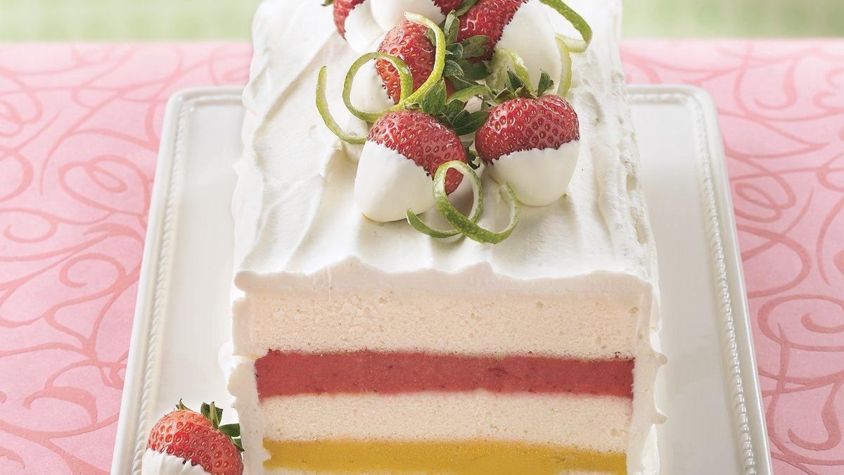 Gateau glace sorbet fraise