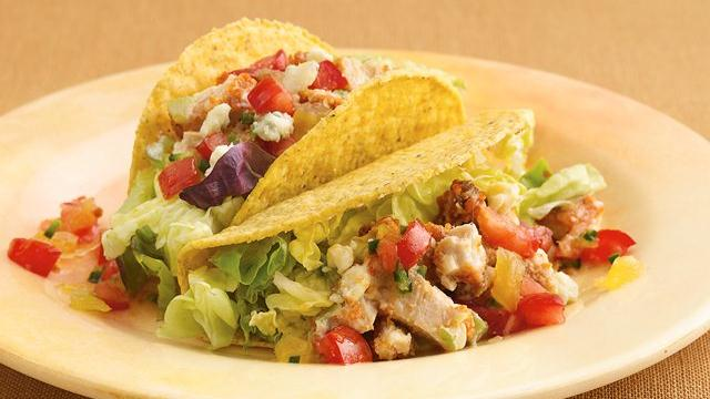 Buffalo Chicken Salad Tacos with Pineapple Salsa
