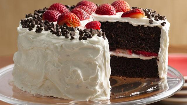 Chocolate-Strawberry Cake with Fluffy Frosting