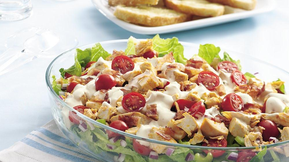 Buffalo Chicken Layered Salad